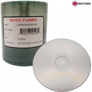 TAIYO YUDEN TY CD-R, SILVER INKJET HUB PRINTABLE,52X,700MB,CDR80SPP600SK, 100PCS