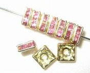 20 Swarovski Squaredelles 6x6mm Gold / Color (Rose, Siam, Sapphire, Emerald, Peridot, Topaz, Amethyst  and many more)