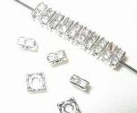 20 Swarovski Squaredelles 6x6mm Silver / Crystal SQ601