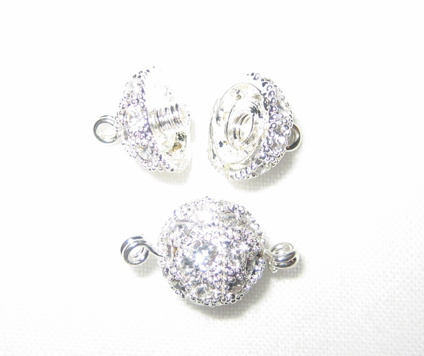 8mm Swarovski Rhinestone Ball Silver Screw-on Clasps - K49