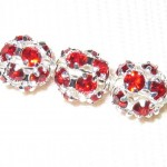 8mm Swarovski Rhinestone Filigree Balls Silver / Color Crystal