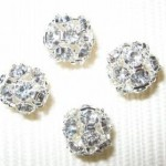 10mm Swarovski Rhinestone Filigree Balls Silver/Crystal B1001