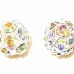 10mm Swarovski Rhinestone Filigree Balls Silver/Crystal AB - B1003