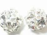 12mm Swarovski Rhinestone Filigree Balls Silver/Crystal B1201