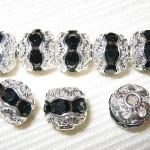 12 6mm Swarovski Rhinestone Beads Silver-- RH6SCOLOR