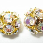 8 12mm Swarovski Rhinestone Filigree Balls Gold/Crystal AB - B1204