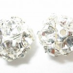 14mm Swarovski Rhinestone Filigree Balls Silver/Crystal - B1401