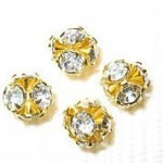 6mm Swarovski Rhinestone Filigree Balls Gold/Crystal B602