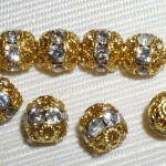12 10mm Swarovski Rhinestone Beads Gold/Crystal RH1002