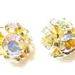 6mm Swarovski Rhinestone Filigree Balls Gold/Crystal AB - B604