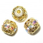 8 6mm Swarovski Rhinestone Filigree Balls Gold/Crystal AB - B604.