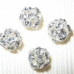 8mm Swarovski Rhinestone Filigree Balls Silver/Crystal B801