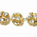 8mm Swarovski Rhinestone Filigree Balls Gold/Crystal B802