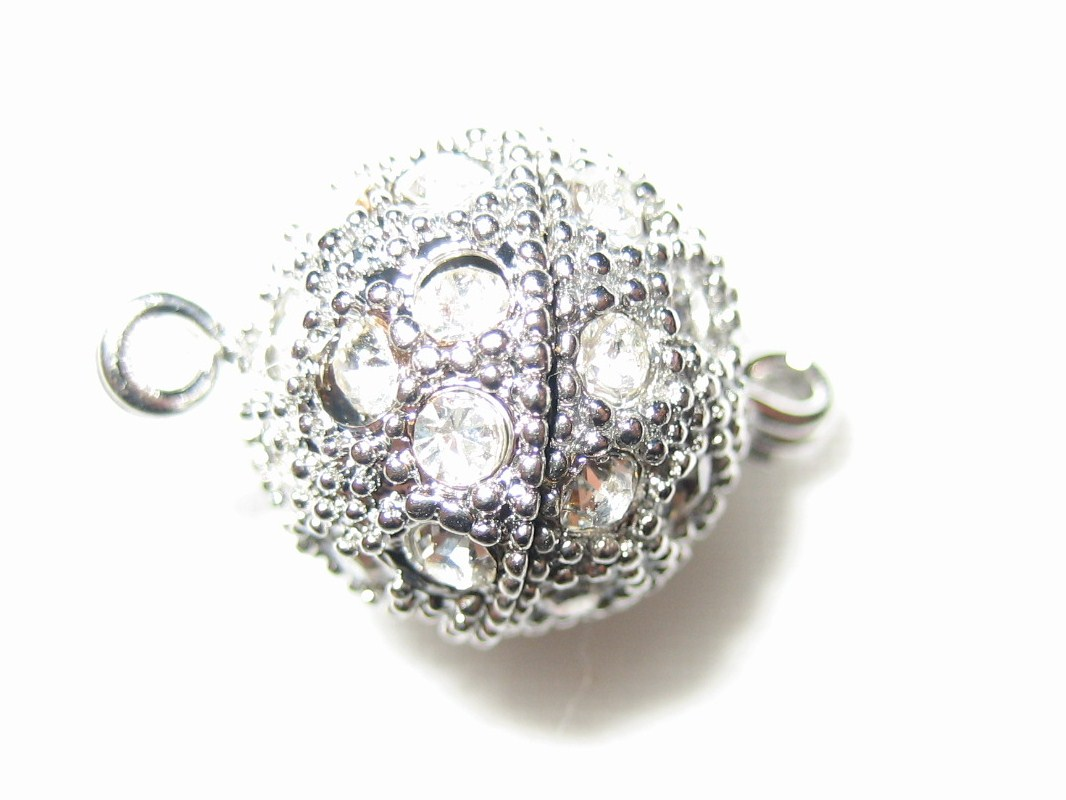 12mm Swarovski Rhinestone Ball Rhodium Screw-on Clasp - K53R