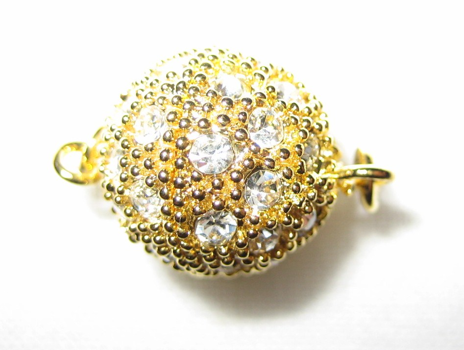 12mm Swarovski Rhinestone Ball Gold Screw-on Clasp - K54