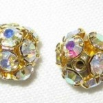 8mm Swarovski Rhinestone Filigree Balls Gold/Crystal AB - B804