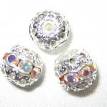 12 8mm Swarovski Rhinestone Beads Silver/Crystal AB -- RH803